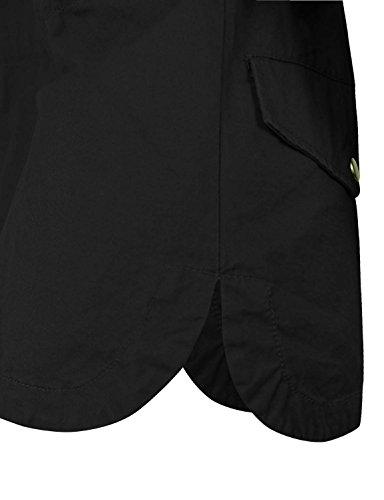 Makeitmint Women's Zip Up Military Anorak Jacket w/ Hood [S-3XL] Medium YJH0018_BLACK