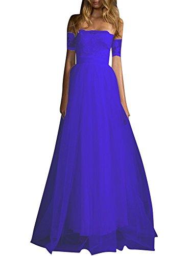 Cocktail Pizzo da Off Da Chiffon Reale Sera Vestitini Vestito Maxi Shoulder Abito Blu Lungo Donna Z0w8Sx8