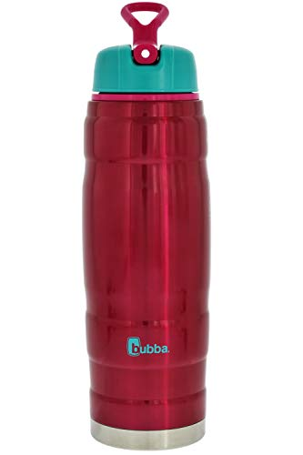 (bubba 24 oz HERO sport dual-wall insulated stainless steel water bottle, ruby/turquoise - Perfect at the gym, outdoors or in the office)