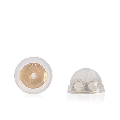 Universal EZback Earring Backs Soft Clear Silicone and 14k Yellow Gold Small 1 Pair ()