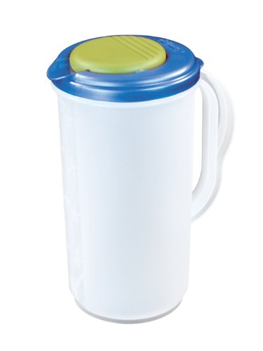 Sterilite 04820006 2 Quart Round Pitcher, Blue Sky Lid w/ Lime Tab & Clear Base, 6-Pack Sky Blue Pitcher