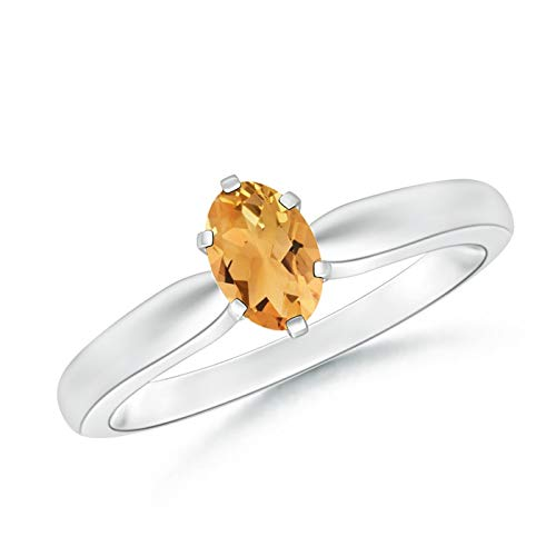 Tapered Shank Oval Solitaire Citrine Ring in Platinum (6x4mm Citrine)