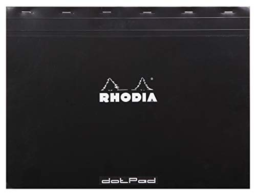 Rhodia Staplebound Notepads - Dots 80 sheets - 16 1/2 x 12 1/2 in. - Black cover