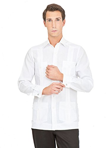 Hippólito Men's 100% Irish Linen Guayabera Shirt XX-Large White ()