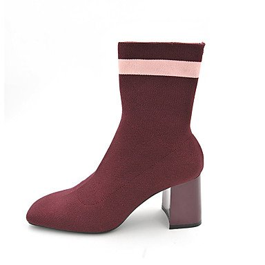 Women's Shoes Knit Winter Fashion Boots Boots Booties/Ankle Boots For Casual Black Red red GrXpmDz