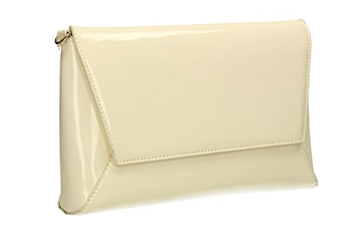 Out Ladies Celebrity Leather Wedding White Womens Cream SWANKYSWANS Bag Party Elise Prom Night Patent Clutch 0x8nUUgz