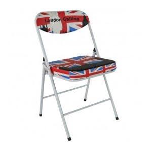 Tabouret et chaise de londres avec le drapeau anglais - Chaise pliante london ...