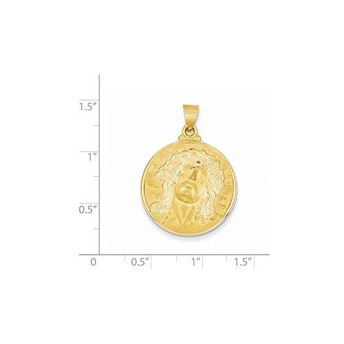 14k Yellow Gold Engravable Head of Jesus Christ Medal Round (Jesus Christ Head)
