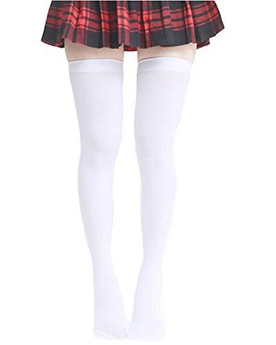 - SUPER Q White Over The Knee Socks Thigh High Stockings for Girls Women Velvet Stay Ups Over The Knee Socks Fit S-XL