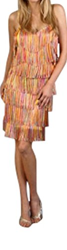 Cheryl Creations Women's Short All-Over Fringe Flapper Sleeveless Comfortable Day/Night Mini Dress with Adjustable Bra - Fringe Dress Summer