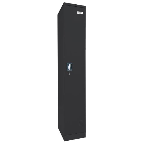 "Sandusky Lee KDCL7212/1-09 Black Powder Coat Paint Steel SnapIt Full Length Locker, 72"" Height x 12"" Width x 18"" Depth, 2 Shelves"