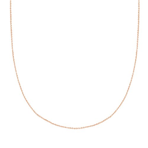 Ritastephens 14k Solid Rose Pink Gold Diamond-Cut Cable Link Chain Necklace 0.8 Mm 20 Inches