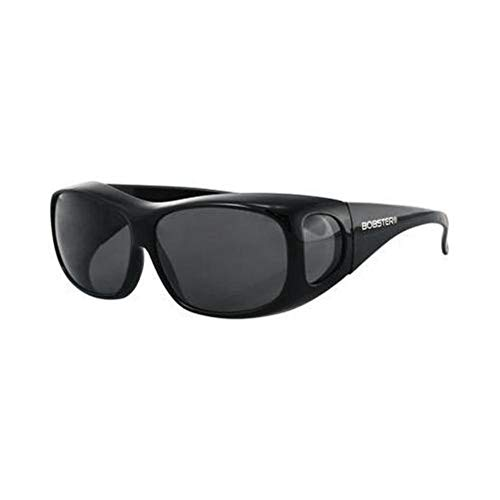 Bobster Condor 2 OTG Sunglasses, Gloss Black Frame, Anti-fog Smoked Lens, Standard (Womens Motorcycle Bobster Sunglasses)