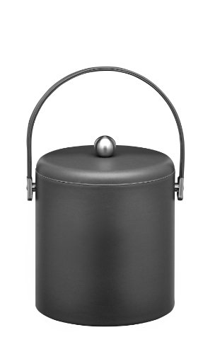 Kraftware Ice Bucket with Stitched Handle, Domed Lid and Chrome Astro Ball Knob, Black - 3 Quart