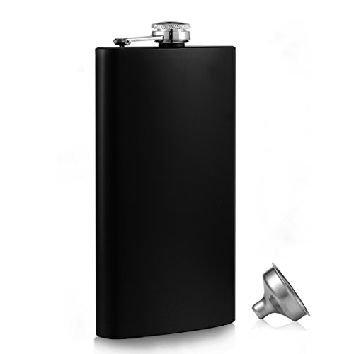 Menghao 12oz Hip Flask 18/8 304 Steel Stainless Food Grade with Free Funnel Liquor Drinking of Alcohol Whiskey Gift for Men(Black) ()