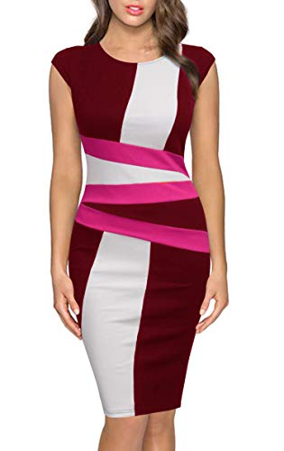 FORTRIC Women Round Neck Sleeveless Elegant Wear to Work Pencil Party Dress Burgundy XXL