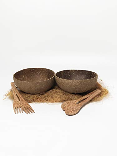 - Cocoboo - Complete Gift Set, real coconut shell bowls, artisan handmade, salad/smoothies bowl (includes 1 natural bowl, 1 spoons, 1 fork, 1 pair of chopsticks)