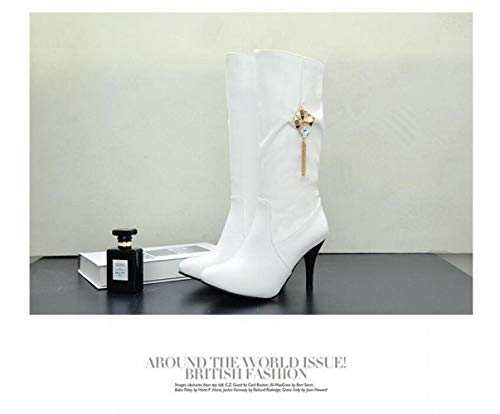Alto Otoño Invierno Y Afilada Mujer 35 Wsr Con Blanco botas De Para Antideslizantes Sexy Tacón E Punta Botas Moda 43 8RnwYp7q