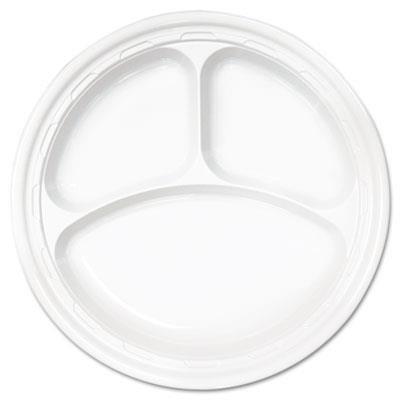 Dart 10CPWF 10.25 in White Plastic 3-comp Plate (Case of 500)