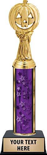 Crown Awards Halloween Pumpkin Harvest Trophies, Personalized Purple Halloween Pumpkin Harvest Trophy with Custom Engraving Prime -