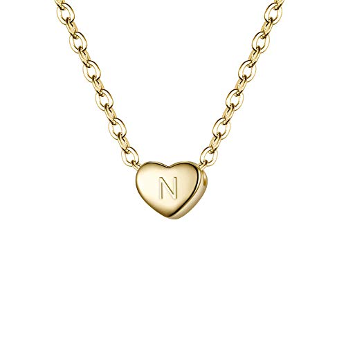 BriLove 925 Sterling Silver Tiny Initial Heart Necklace for Women Pendant Choker Necklace for Girls Letter N 14K Gold-Toned]()