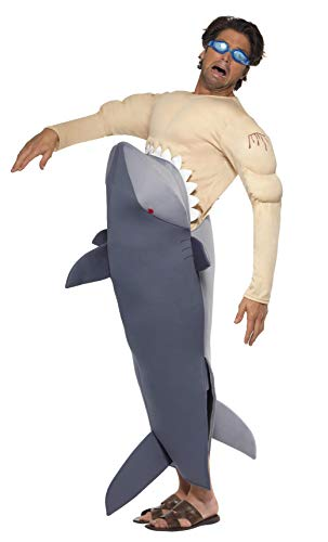Smiffys Men's Man Eating Shark Costume, Shark Bodysuit and Goggles, Funny Side, Serious Fun, One Size, 36378 ()