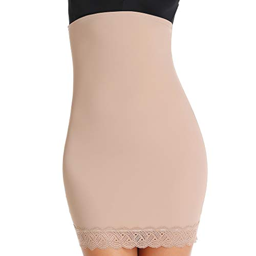 Lace Half Slip for Under Dresses Shapewear High Waist Skirt Halfslip Dress for Women Tummy Control (Beige, S)