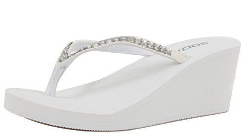 Soda Women Kaku Rhinestone Thong Slip-on Sandals Eva Wedge , White, 65 M US
