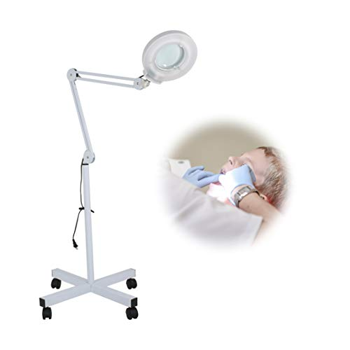 Facial Magnifing Lamp Floor 5 Diopter LED Magnifier Light W/Adjustable Swivel Arm and Rolling Stand for Beauty Salon Skincare Manicure Tattoo