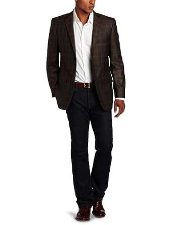 Joseph Abboud Men's 2 Button Structured Shoulder Side Vent Plaid Sport Coat,  Brown, 40 S