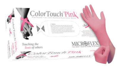 Microflex® Medium Pink 9.6'' ColorTouch® 5.9 mil Latex-Free Latex Ambidextrous Non-Sterile Medical Grade Powder-Free Disposable With Textured Finish, Standard Examination Beaded Cuff And Polymer Coating(100 Gloves Per Dispenser Box)