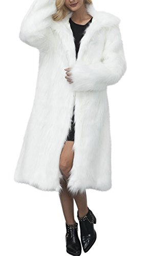 Women's Stylish Faux Fur Hairy Above Ankle Button up Outwear Coat White by GESELLIE
