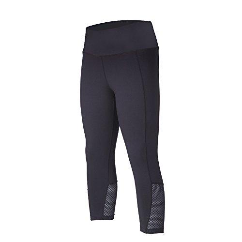 beroy Leggings Women's Active Workout Compression 3/4 Tights Yoga Pants Training Running Capri Leggings(XL,Black) ()