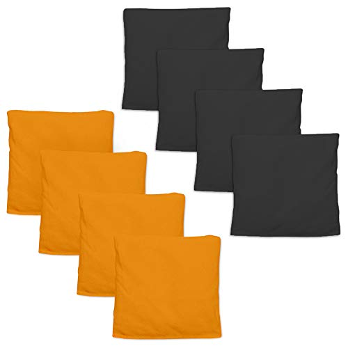 Weatherproof Duck Cloth Cornhole Bags - Set of 8 Bean Bags for Corn Hole Game - Regulation Size & Weight - Made with Corn-Shaped Synthetic Corn