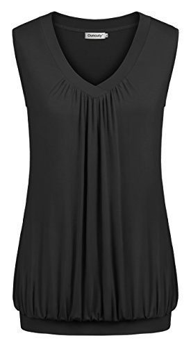 Ouncuty Sleeveless Blouses for Women Work, Juniors Black Sleeveless Tops Fitness Casual Large V Neck Tanks Gym Running Tees Loose Fit Roman Fashion T Shirt Workout with Banded Hem(US12-14)