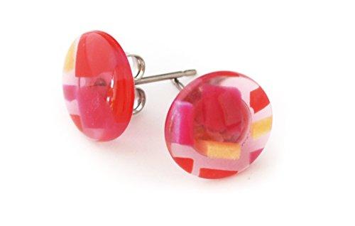 - Made-in-japan Dirocca Celluloid Stud Earrings - Pink