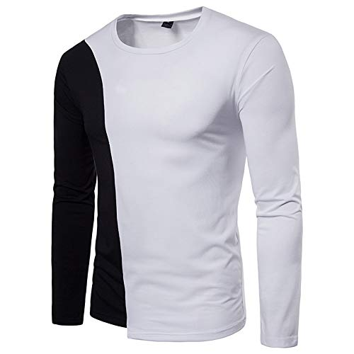 - WHLWY Hoodies Leisure and Comfortable Men's Two Color Leisure Round Neck Long Sleeved T-Shirt Black XL