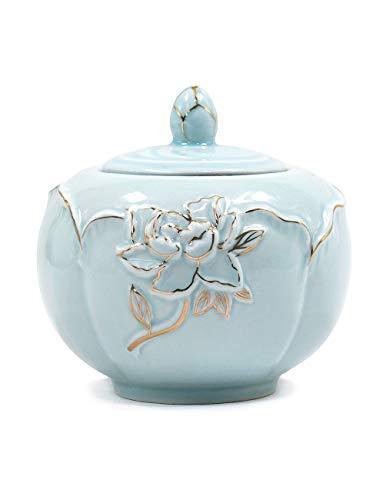 Ice Blue Porcelain - Dahlia Etched Peony Porcelain Tea Tin/Tea Storage/Tea Caddy/Tea Canister, Ice Blue
