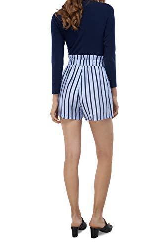 Our Heritage Women's Shorts Women's Light Blue & Navy Stripe Striped Paper Bag Shorts (M) ()