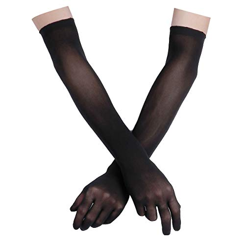 (FEESHOW Women's Sheer Seamless Pantyhose Nylon Evening Long Finger Gloves Black One Size)