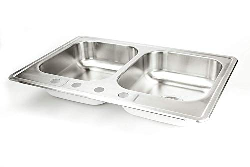 "Double Basin 4 (Stainless Steel Kitchen Sink Drop In 33"" x 22"" x 8"" Top Mount Deep Sinks 18 Gauge 50/50 Double Bowl Dual Basin 33 Inch 22 Inches Self Rimming Dropin Over Mount T-304 18G Four Hole Design Great for RV)"