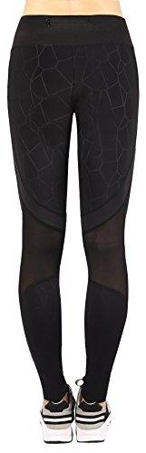Sugar Pocket Negro Pantalones Elástico Mallas Transpirable Mujer Hacer Yoga negro