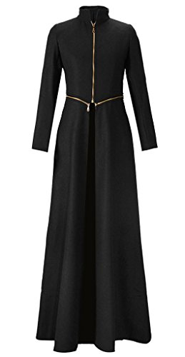 Black Casual Winter Coat Outerwear for Women Long Sleeved with High Neck, Large, Black