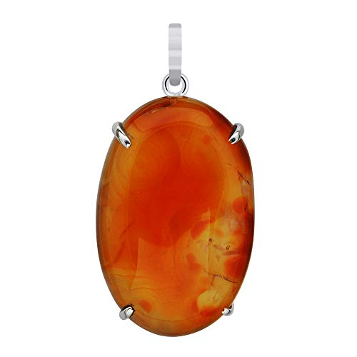 (90 Ctw Natural Red Moss Agate Pendant By Orchid Jewelry: Simple 925 Sterling Silver Necklace for Teen Girls And Women)