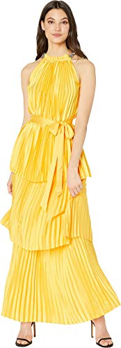 Couture Womens Dress (Juicy Couture Women's Pleated Halter Maxi Dress Sunlit 10)