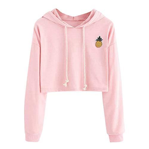 Casual Pullover Sweats Manteau Blouse Sweat Manches Femme Sweats Rose Automne Capuche de Shirt Printemps Solike Sport Cropped Sweatshirt Loose Appliqus Ananas Tops Longues 5t7PqP