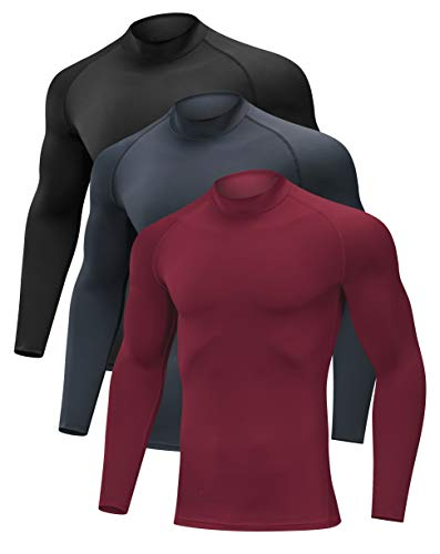 SILKWORLD Men's 3 Pack Compression Shirt Dry Fit Running Long-Sleeved Sports Baselayer, Black, Red, Dark Grey, XX-Large
