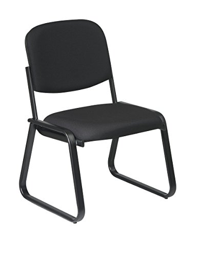 Back Deluxe Visitors Chair - Office Star Molded Foam Seat and Back Deluxe Visitors Armless Chair with Plastic Shell Back and  Sled Base, Black