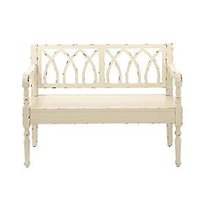 "Deco 79 48"" x 36"" Wood White Bench,"