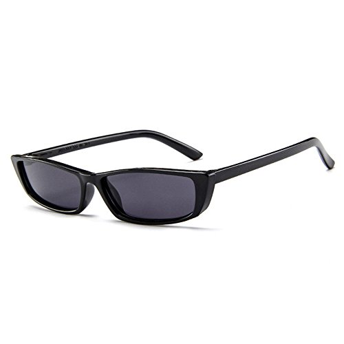 Retro Thin Rectangle 90's Cat Eye Vintage Sunglasses Narrow Fashion Clout Skinny Shades (Black)